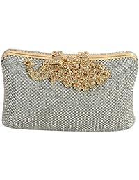 24X7 Emall Women's Clutch (Diamond Gold Silver,Premium Pearl Diamond Silver Two Sided)