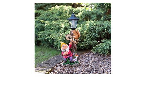 con cappello giallo statua ornamentale Lampada da giardino a luce solare con gnomo