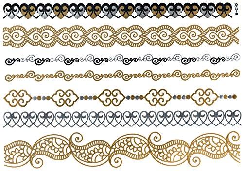 Metallic Scroll (Flash Tattoo Wander Joy Sheet 2 | Bänder Armbänder Fußketten orientalisch | Temporäres Tattoo mit 7 Gold und Metallic Motive | Weitere Designs verfügbar | Original POSH Tattoo®)