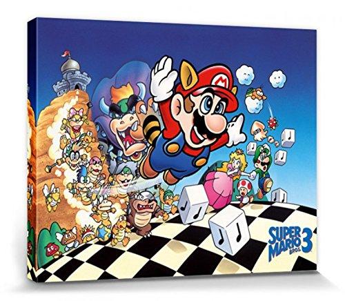 1art1 76369 Super Mario - Bros. 3, Prinzessin Peach, Luigi Poster Leinwandbild Auf Keilrahmen 50 x 40 cm (Luigi Und Prinzessin Peach)