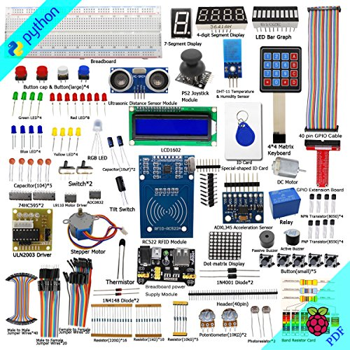 Adeept RFID Starter Kit for Raspberry Pi 3, 2 Model B/B+, Stepper Motor, ADXL345, 40-pin GPIO Extension Board, Breadboard, with C and Python Code, Learning Kit with Guidebook(PDF) (Python-starter-kit)