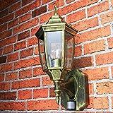"""antico lampada per esterni con sensore di movimento """" Lyon """" in NERO-ORO / IP44 E27 60W / LUCE SENSORE per esterno lampada da parete"""