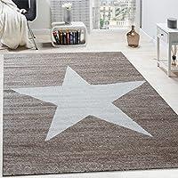Alfombra De Diseño Con Estampado Moderno De Estrella De Velour Corto Mezclada En Marrón Y Beige, tamaño:80x150 cm