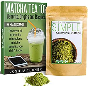 Ceremonial Grade Matcha Green Tea - 50g + FREE MATCHA BOOK (Vegan, Vegetarian, Natural for Drinking, Smoothies, Baking and More) - By Plain&Simple