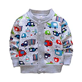 Miyanuby Baby Girls Boys Cardigan Sweater Coats Winter Autumn Fleece Warm Cartoon Coat Clothes for Kids 1-3 Years
