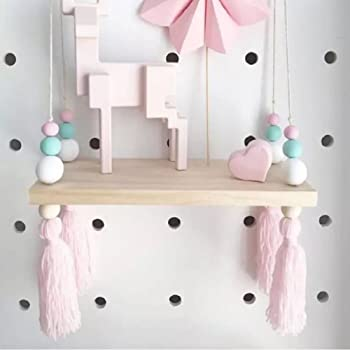 Home Storage & Organization Nordic Style Beads Colorful Wood Shelves With Tassel Wall Clapboard Decoration Children Room Kids Clothing Store Display Stand Home & Garden