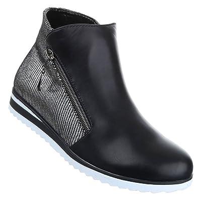 finest selection 11c5e a5065 Damen Boots Schuhe Stiefeletten Schwarz Gold Silber 36 37 38 ...