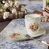 Panbado 3-teilig Elfenbein Porzellan Kaffeetassen 300 ml mit Löffel und Untertassen als Dessertteller, Kaffee Tee Set