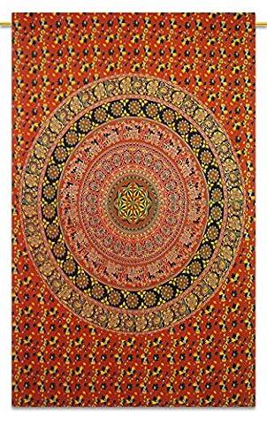 Orange Floralprinted Wandbehang Indian Cotton Tapestry Décor Werfen 84