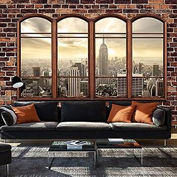 murando fototapete fenster nach new york 350x245 cm vlies tapete moderne wanddeko design. Black Bedroom Furniture Sets. Home Design Ideas