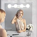 Dimbar sminklampa med batteridriven, USB-laddbar, trådlös LED-spegellampor, bärbar sminklampa för toalettbord belysning