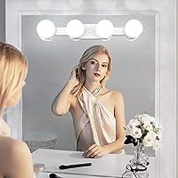 QYH Lumière de Miroir,Lampe de Maquillage Portable Sans fil Rechargeable lumière avec 4 ampoules LED luminosité de…