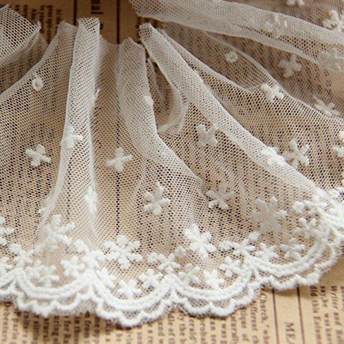Elfenbein 5Meter Grace Baumwolle Bestickter Mesh Spitze Rand Trim Stoff Ribbon Hochzeit Brautschmuck Schleiern Craft HESD Ornaments 31/5,1cm breit -