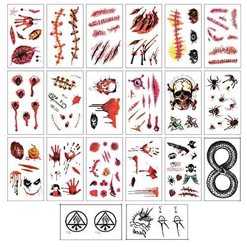 20 Pcs Halloween Zombie Narben Vampir Tattoo/Tätowierung temporäre Tattoos/Tätowierungen schminken für Halloween Party Requisit und Cosplay Aufkleber (4.1