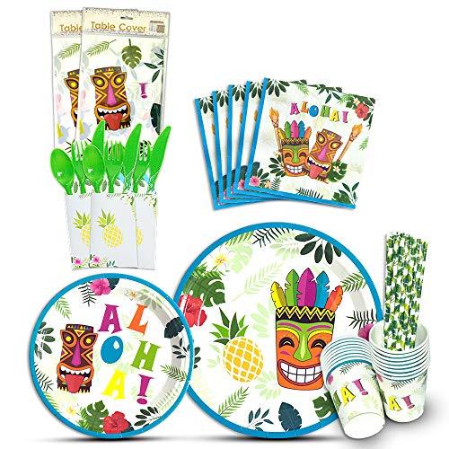 Geschirr Set - 146 PCS Tropical Hawaiian Party Zubehör für Kinder Geburtstag Baby Shower Inklusive Bestecktasche Tischdecke Platten Tassen Servietten Strohhalme Utensilien 16 Gäste ()