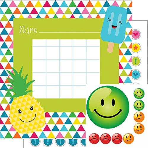 Kinderbelohnung Belohnungssystem für Kinder mit Belohnungskarten + extra Aufkleber im Set SOMMER + SMILEY in 3 Farben - 144 Sticker