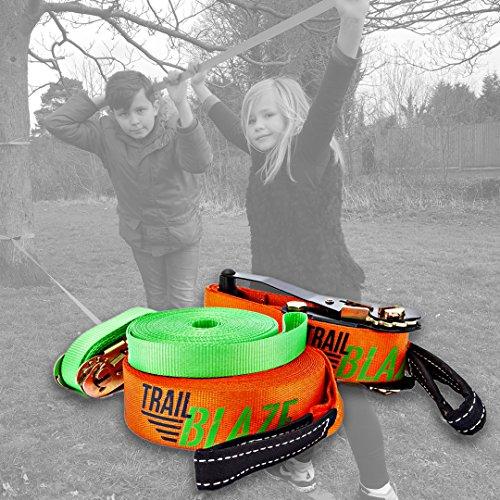 Trailblaze Slackline Kinder mit Hilfsseil + Baumschutz - Vollständiges Slackline-Set 15m für Anfänger – Ideale Aktivität für Kinder und Familien im Freien - Einfach Aufzubauen Balancierseil - 8