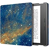 Fly USA MoKo Case for All-New Kindle Oasis (9th Generation, 2017 Release) - Slim Fit Premium PU Leather Protective Cover with Auto Wake / Sleep for Amazon Kindle Oasis E-reader Case, Sky Star
