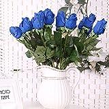 Weimanshop 10pcs/lot de haute Simulation Superbe hydratant Sensation Sensation Ultra Réaliste de rose en PU Rose Bub mariée Bouquet Fleur Mariage Saint Valentin 's-day Utilisation, bleu, 17.5in