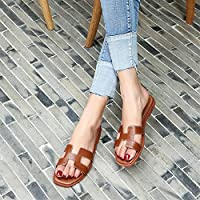 Jaypar Fashion Slippers for Women Flats H Shaped Slide Summer Cut Out Square Toe Slim Rubber Sole Genuine Leather Slip on Comfortable (Color : Brown, Size : 38 EU)