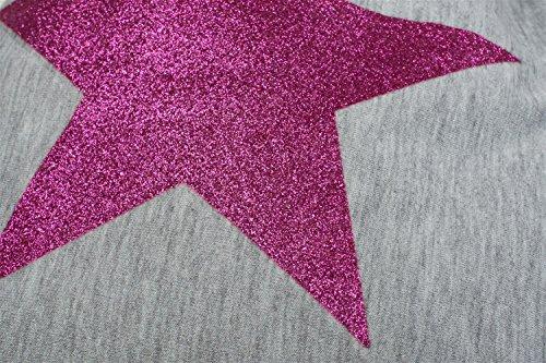 styleBREAKER borsa sportiva hipster con stella glitter, zaino streetstyle, borsa sportiva, bauletto, unisex 02012195, colore:Grigio scuro - Argento Grigio chiaro a pois - Rosa