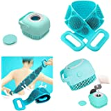 Twonzilla 2 Pcs Combo Silicone Body Back Scrubber, Double Side Bathing Brush For Skin Deep Cleaning Massage, Dead Skin Remova