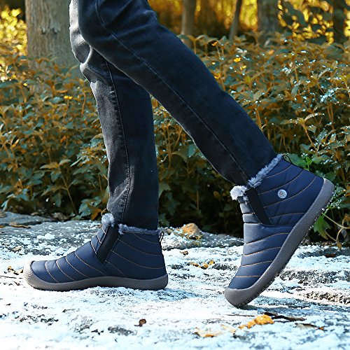 SAGUARO Herren Damen Winterschuhe Warm Gefütterte Boots Stiefelette Outdoor Schneestiefel Winter Schuhe High top blau