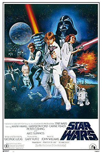 Star Wars - Orange Sword of Darth Vader - Filmposter Kino Movie Science Fiction Sci Fi - Grösse 61x91,5 cm + 2 St Posterleisten Kunststoff 62 cm schwarz