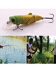 Forfar 4cm Faux artificielle Leurre de pêche Grasshopper Insectes Shape extérieure Pêche Leurres Tackle dur avec crochet