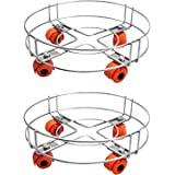A & Y® Stainless Steel Gas LPG Cylinder Stand Trolley with Wheels (Pack of 2)