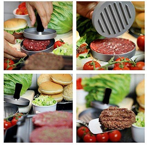 61uO4FAGtoL - Niviy Hamburgerpresse Set Hamburger Form Burger Maker Antihaft Patty Schimmel, Ideal für Burger, Hamburger, Patties, Presse, Beste Küche und Grillen Zubehör, Grill aus Aluminium