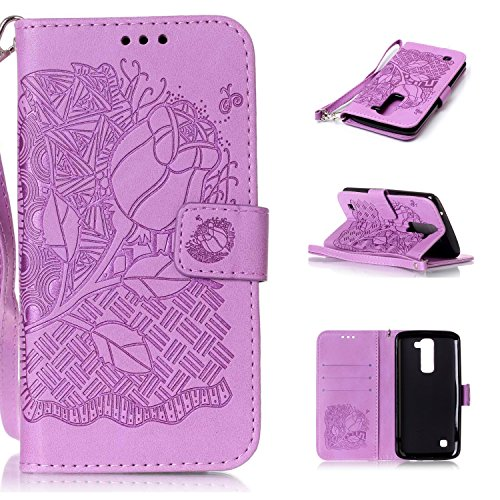 LG K7 Case, LG K7 Cover, Cozy Hut PU Leather Wallet Case for LG K7 Flip Case Bookstyle Cover Roses Pattern Solid Color Folio Shell PU Cell Phone Holster with Hand Strap Stand Function Credit Card Slots Magnet Closure Anti-Drops Dustproof Protective Shell for LG K7 (5,0 Inch) - Purple Rose