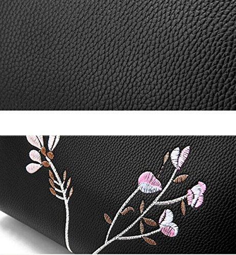 Handtaschen Mit Stickerei EaseGave Exquisite Blume Vegan Leder Schultertaschen Für Frauen Handtasche Blue