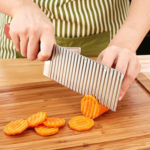 STJK$BMJW Edelstahl Messer Aktenvernichter Schneidemaschinen Wave Kartoffeln Schneiden Pommes Multifunktionale Wave Messer
