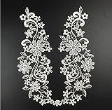 Yulakes 1 Paar Ausschnitt Spitzenkragen Spitzenborte Spitze Applikation Kleid DIY Weiße Blumenspitze Applikation Gestickt Guipure Hochzeit Spitzemotiv Patch one size--L573 (weiß)