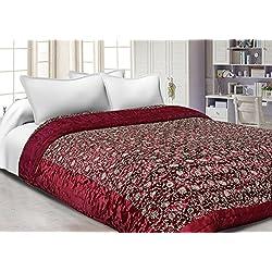 Famacart Double Bed Size Jaipuri Silk AC Quilt Razai Blanket, Dohar With Gold Prints Printed Double Bed Quilt/Comforter/AC Quilt/AC Comforter/Razai, Winter Quilt, Jaipuri Razai