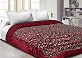 #4: Namaste India Double Bed Size Jaipuri Silk AC Quilt Razai with Gold Prints Printed Double Bed Quilt/Comforter/AC Quilt/AC Comforter/Razai - Maroon