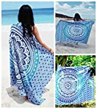 Future Handmade Twin Tapestries Blue Ombre Mandala Tapestries Bohemian Tapestries Indian Handmade Twin Tapestry Wall Hanging Beach Towel Unique Home Decor 100% Cotton Bedspread Wall Art (DESIGN 2)