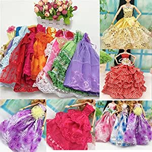 iDream Doll Accessories - Beautiful Elegant Handmade Party Weeding Gown (Pack of 5)