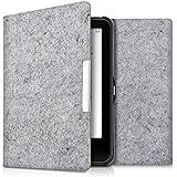 kwmobile Hülle für Tolino Vision 1 / 2 / 3 / 4 HD - Flipcover Case eReader Schutzhülle - Bookstyle Klapphülle Filz Design Hellgrau
