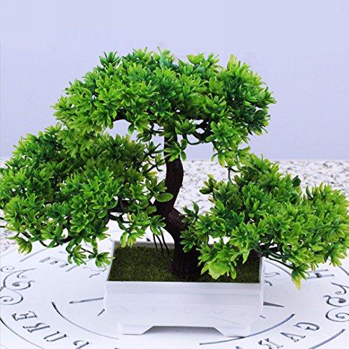 Künstliche Bonsai Baum Pflanze für Büro Zuhause Dekoration, 18cm (Grün)