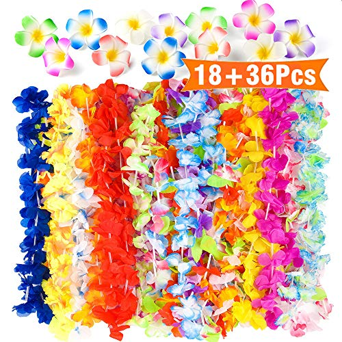 FEPITO 36 Stück Tropical Hawaiian Hula Blume Leis Halsketten mit 18 Pcs Plumeria Hibiscus Blume Haarspangen für Aloha Luau Jungle Beach Moana unter dem Motto BBQ Birthday Party Dekorationen