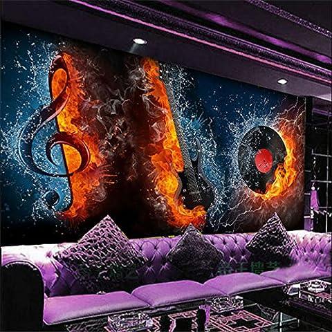 250 cmX 175 cm Papel de parede Custom 3D-KTV Skelett großes Wandbild Tapeten Laser Reflective Guitar Music Bar Thema Wallpaper, 250 cmX 175 (250 Thema)