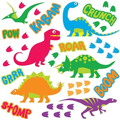 GET STICKING DÉCOR® Niedliche Dinosaurier Dinos Wandtattoo, Wandsticker Kollektion, FunckyISkDino Dino6, Glänzend Herausnehmbar Vinyl, Multi Farbe. (Medium)