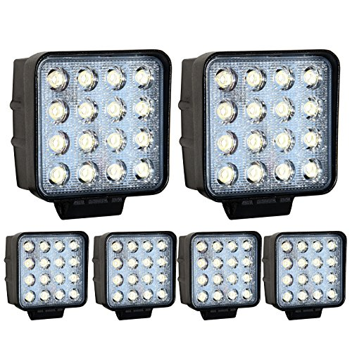 Glühlampe Innen Flutlicht Reflektor (Greenmigo 6X 48W 16 LEDs Offroad Lampe LED Arbeitsscheinwerfer Flutlicht Reflektor Arbeitslicht Zusatzscheinwerfer für SUV, UTV, ATV Rückfahrstrahler 12V 24V)