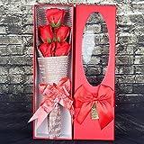 Gaoxu La novia de enviar un regalo de cumpleaños, 5 flores rosas de jabón, caja de regalo, cumpleaños, boda, día de San Valentín, Rose Bouquet,De gules