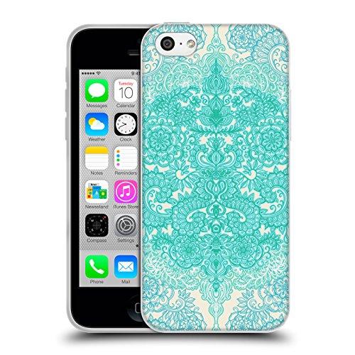 Offizielle Micklyn Le Feuvre Diamanten Doodle Navy Blau Und Kreme Blumige Muster Soft Gel Hülle für Apple iPhone 6 Plus / 6s Plus Minz Grün Und Aqua