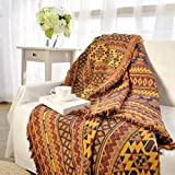 Spring Fever Cotton Decorative Boho Tassels Sofa Throw Blankets - Colorful Tribal Pattern, Color A, 35.0' x 35.0'