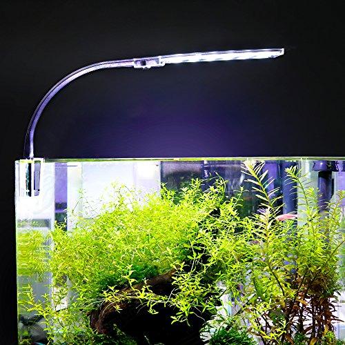 Decdeal Aquarium LED Beleuchtung Lampe 24 LED Klemmleuchte Clip-on Lampe mit EU-Stecker 10W -