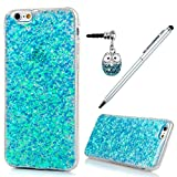 iPhone 6 Case,iphone 6S Case, Badalink Bling Glitter Soft Gel Clear Shock Absorption TPU Case Luxury Shinny Sparkle Ultra-Slim Silicone Case Back Shell for iPhone 6S / iPhone 6 with with 1 Touch Pen & 1 Dust Plug,Blue